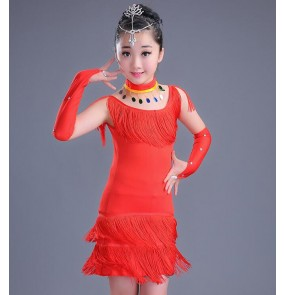 Black red fringes girls kids child competition exercises latin salsa cha cha dance dresses outfits