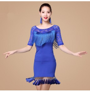 Black red fuchsia hot pink royal blue fringes sexy lace patchwork women's salsa cha cha latin dance dresses outfits