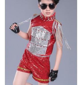 black red Kids Jazz dance Outfit Clothing Child Boy Sequin Hip Hop/Modern Dance Costume Sexy Jazz Dance Costumes Dress For boys