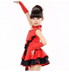 Black red Latin Dance Dress For Girls Samba Dress Dancing Dress Girl Dancewear Kids Kid Costume Ballet Vestido Baile Latino Girls