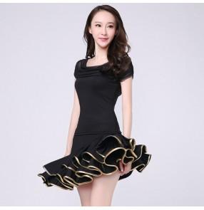Black red latin dance dress women tango dress salsa rumba modern dance costumes  latin dress dancing clothes Dancewear