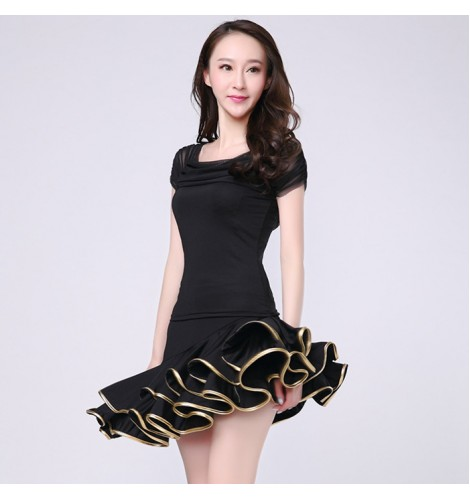 0e1500915dae Black red latin dance dress women tango dress salsa rumba modern ...