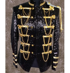 Black red Men stage bling sequins jacket nightclub singers jazz host costum jacket gold  black sequin jakcet with chains