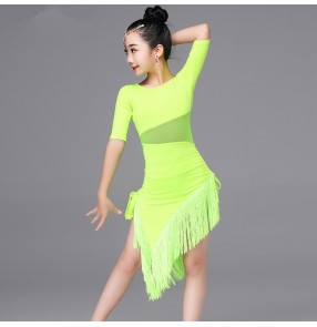 Black red neon fluorescent green fringes side split girls kids children competition exercises latin dance dresses outfits