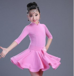 Black red neon green light pink girls girls grade test competition ballroom latin salsa dance dresses outfits costumes