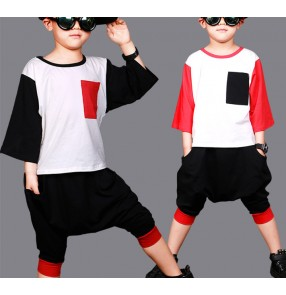 Black red patchwork with pocket boys kids children school competition hip hop jazz dance outfits harem pants
