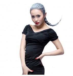 Black  red polka dot V neck short sleeves women's girls salsa cha cha ballroom latin dance tops