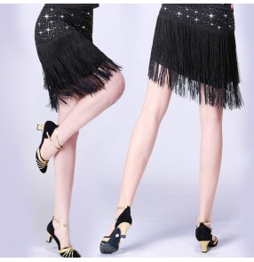 Black red rhinestones fringes women's ladies competition practice performance latin salsa cha cha dance skirts bottoms