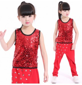 Black red rivet sequins modern dance girls boys hip hop jazz singers dancers performance cheerleaders dance outfits costumes