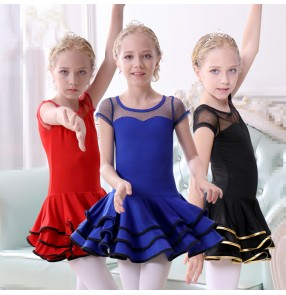 Black red royal blue girls kids children performance latin salsa dance dresses
