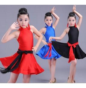 Black red royal blue girls kids children toddlers school competition gymnastics latin ballroom dance dresses