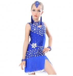 Black red royal blue orange purple backless girls kids children competition rhinestones fringes latin dance dresses