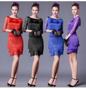 Black red royal blue purple fringes ladies Latin Dance Dress Women Professional Latin Skirt Samba Dance Latin Salsa Dresses