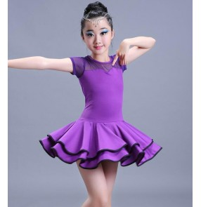 Black red royal blue purple violet girls kids children performance competition latin salsa dance dresses outfits