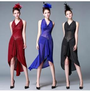 Black red royal blue Sexy Cheap Latin Dance Dress Women Professional Latin Skirt Samba Dance Latin Salsa Dresses
