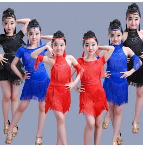 Black red royal blue short sleeves sleeveless girl's kids children performance latin salsa dance dresses outfits