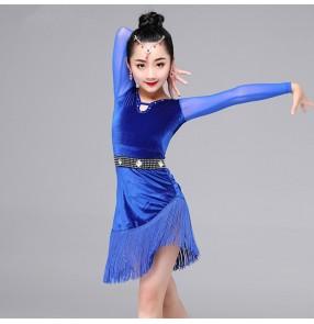 Black red royal blue velvet long sleeves fringes girls salsa latin dance dresses costumes with rhinestone sashes