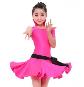 Black red turquoise orange fuchsia hot pink girls kids children competition performance latin salsa dance dresses