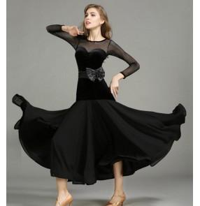 Black red velvet Ballroom Dance Dresses Standard Stage Costume Performance Women Smooth Ballroom Dress Modern Waltz Tango dresses