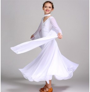 Black red white colored long sleeves girls kids children  v neck competition performance professional ballroom tango waltz dance dresses outfits