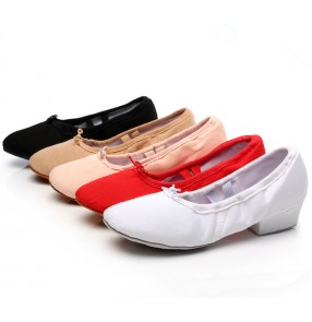 Black red white flesh khaki canvas colored low upper practice women's girls teacher jazz soft soles ballet dance shoes