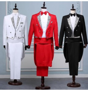 black red white magic wedding prom formal suits groom Tuxedo men's clothing direct service male formal dress costume set singer party
