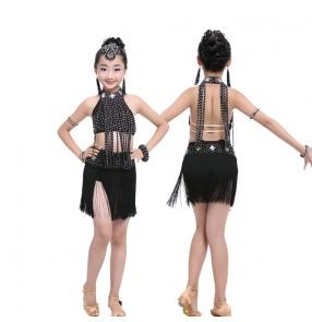 Black rhinestones competition performance girls kids child fringes latin salsa cha cha dance dresses