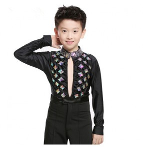 Black rhinestones spandex long sleeves boys kids competition latin ballroom dance leotard shirts tops