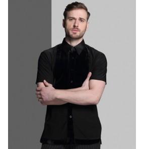 Black royal blue New style men latin dance costumes senior spandex short sleeves latin dance shirt for men latin dance shirts