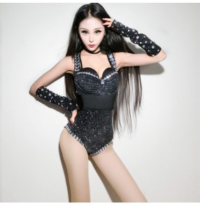 Black sequins rhinestones glitter performance girls women's female night club jazz leader dancers singers ds dj bodysuits leotards