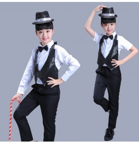 Black sequins with white shirt boys kids children girls jazz hip hop performance magician break dance outfits costumes