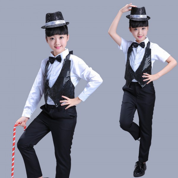 a2f68ddd5f3df Black sequins with white shirt boys kids children girls jazz hip hop  performance magician break dance outfits costumes