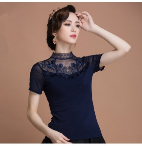 Black spandex fashion competition women's adult stage performance professional ballroom tango latin dance shirts tops