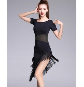 Black Stage Women Lady Latin Dance Dresses Tassel CostumePerformance Party Samba  Feminina