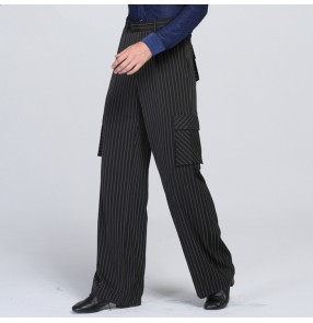 Black striped pockets wide legs competition performance men's male latin ballroom waltz dance pants