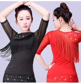 Black turtle neck microfiber and lace patchwork women's ladies fashion sexy competition professional latin cha cha ballroom dance tops