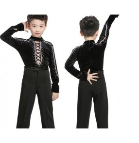 Black velvet hollow front rhinestones competition boys ballroom latin dance leotards tops shirts (only top)