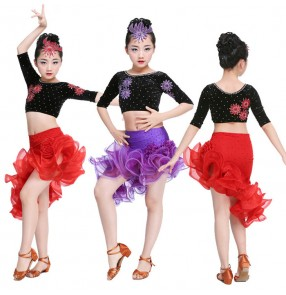 Black velvet red purple violet patchwork ruffles irregular skirt girls kids children competition latin dance dresses outfits