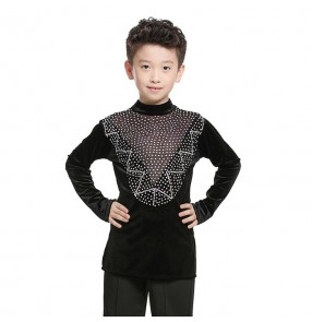 Black velvet rhinestones competition boys kids children ballroom latin dance costumes shirts tops