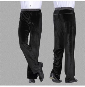 Black velvet straight long length side ribbon men's male competition performance ballroom tango waltz dance pants  trousers