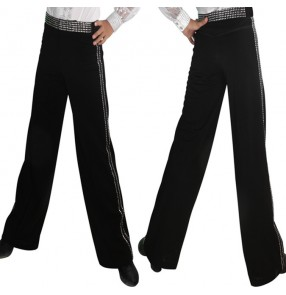 Black waist leg side with rhinestones competition performance boys kids children latin ballroom tango dance pants trousers
