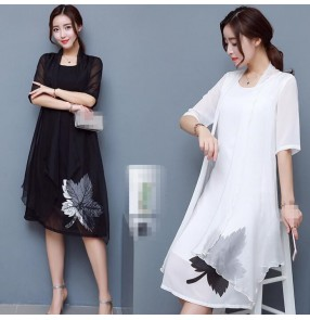 Black white chiffon material fashion vintage style loose long length front split women's ladies female dresses vestidos