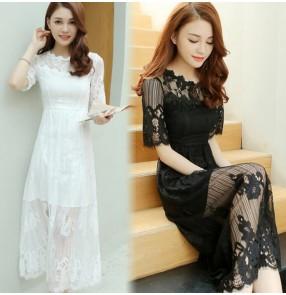 Black white cotton blends girls women's ladies exposure shoulder short sleeves Korean style fashion bodysuit catsuit unitard