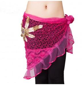 Black white fuchsia Belly dance costumes senior senior hand made beads tassel Belly dance belts for women belly dancing hip scarf