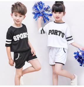 Black white girls kids children boys jazz hip hop cheer leading sports dancing outfits school  uniforms