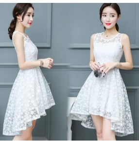 Black white lace  see through v neck fashion sexy long sleeves girls women's dresses
