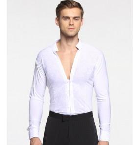 Black white male Plus Size v neck pattern Waltz Latin Dance Top Men Latin Dance Shirts Men Ballroom Dance Shirt