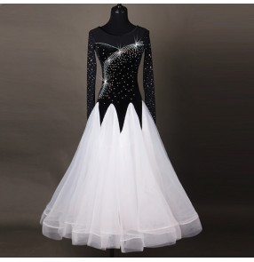 Black white rhinestones competition women's ladies performance professional waltz tango long length dresses