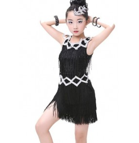 Black white rhinestones fringes glitter stage performance competition girls ballroom latin dance dresses costumes