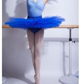 Black white royal blue tutu skirt women's ladies competition half plate platter pancake skirt rehearsal ballet dance skirts